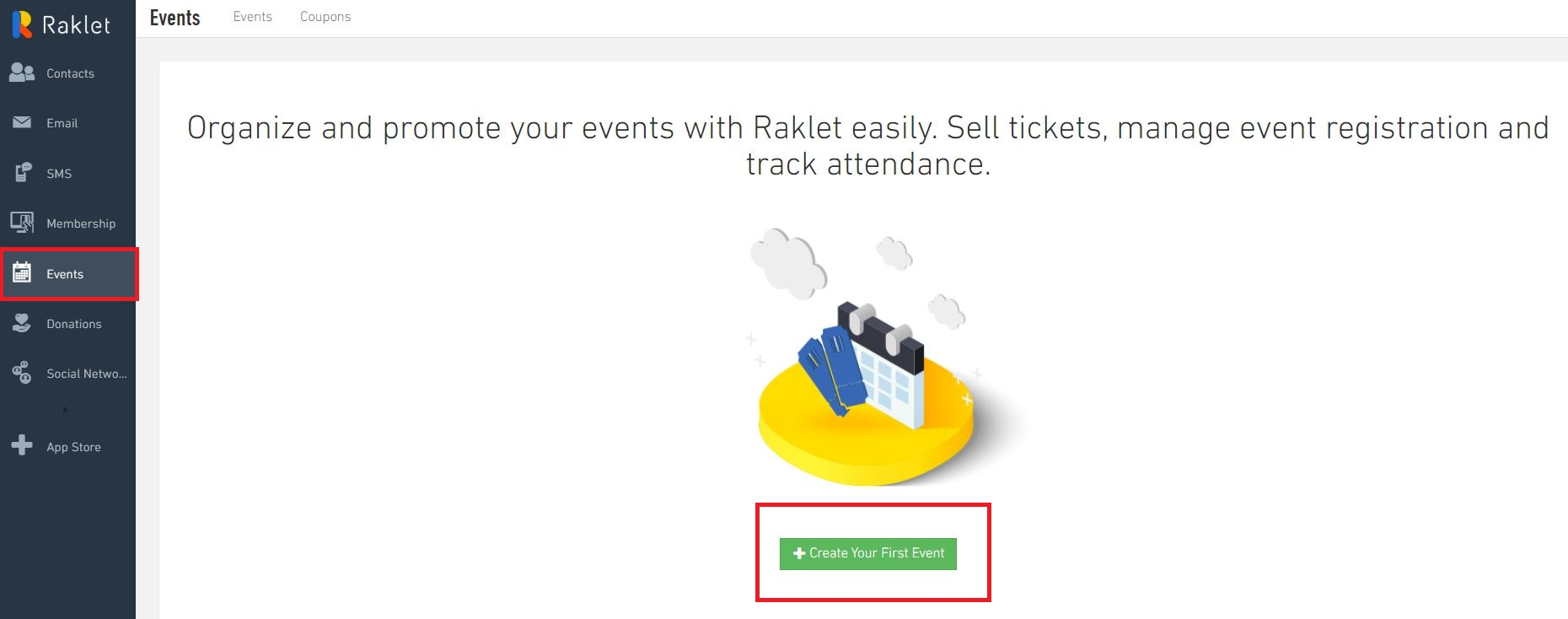 Creating Events, go to Events section, and Create Your First Event
