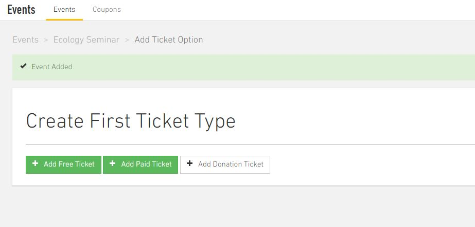 You can decide if it will be a free or paid event and create ticket types