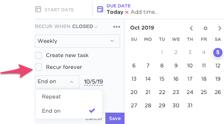Setting Recurrence On Reminders