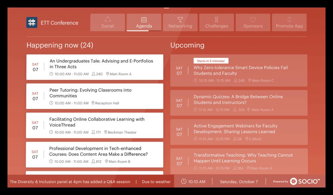 Screenshot of the Agenda tab on aa Live Display.
