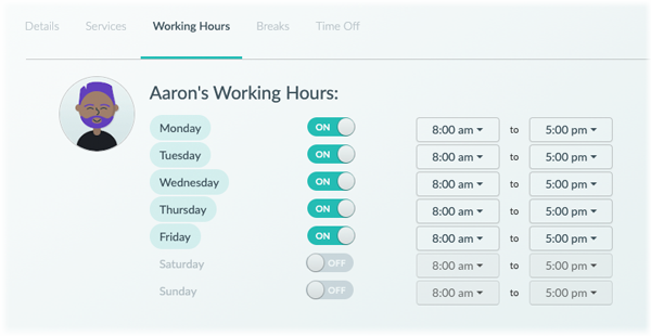The staff working hours tab in the Setmore web app