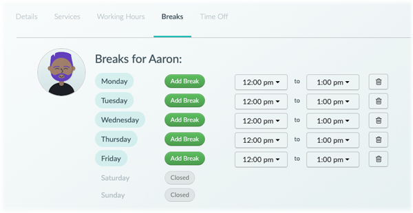The breaks tab for a staff member in the web app