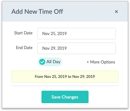 The Time Off pop-up window