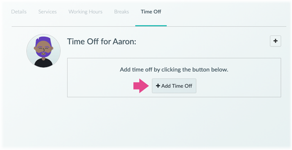 The time off tab for a Staff member in the web app