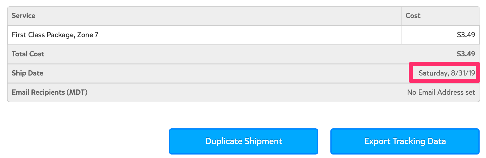 A screenshot showing where you can find the Ship Date at the bottom of the Shipment Details page. This information is listed below where the Total Cost is shown.