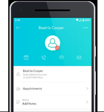 Customer profile in the Setmore mobile app