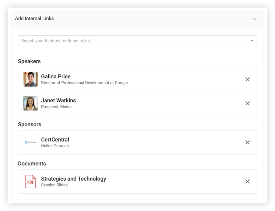 Screenshot of the Add Internal Links section of a feature. Speakers, a sponsor, and a document have been linked.