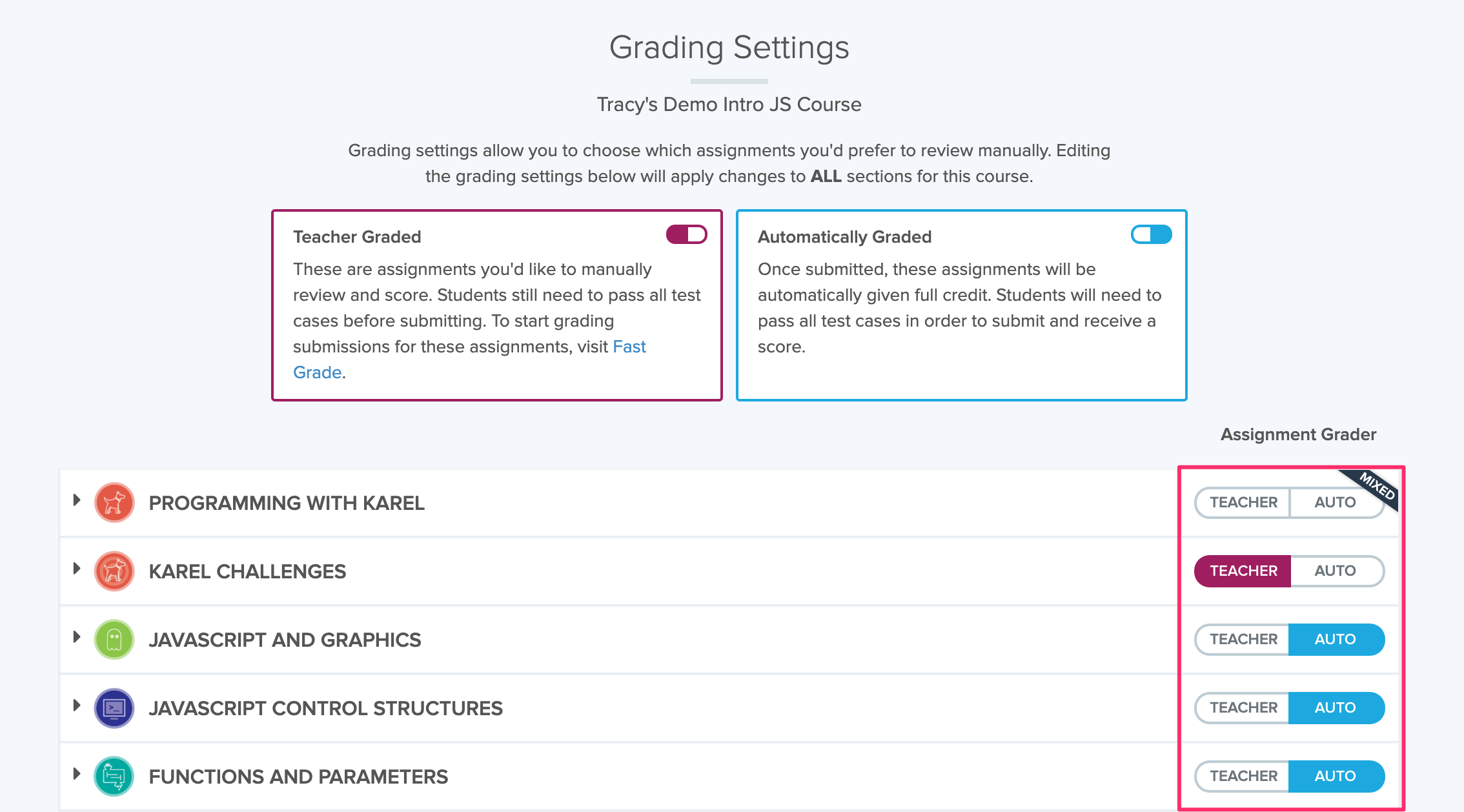 Image showing Grading Settings