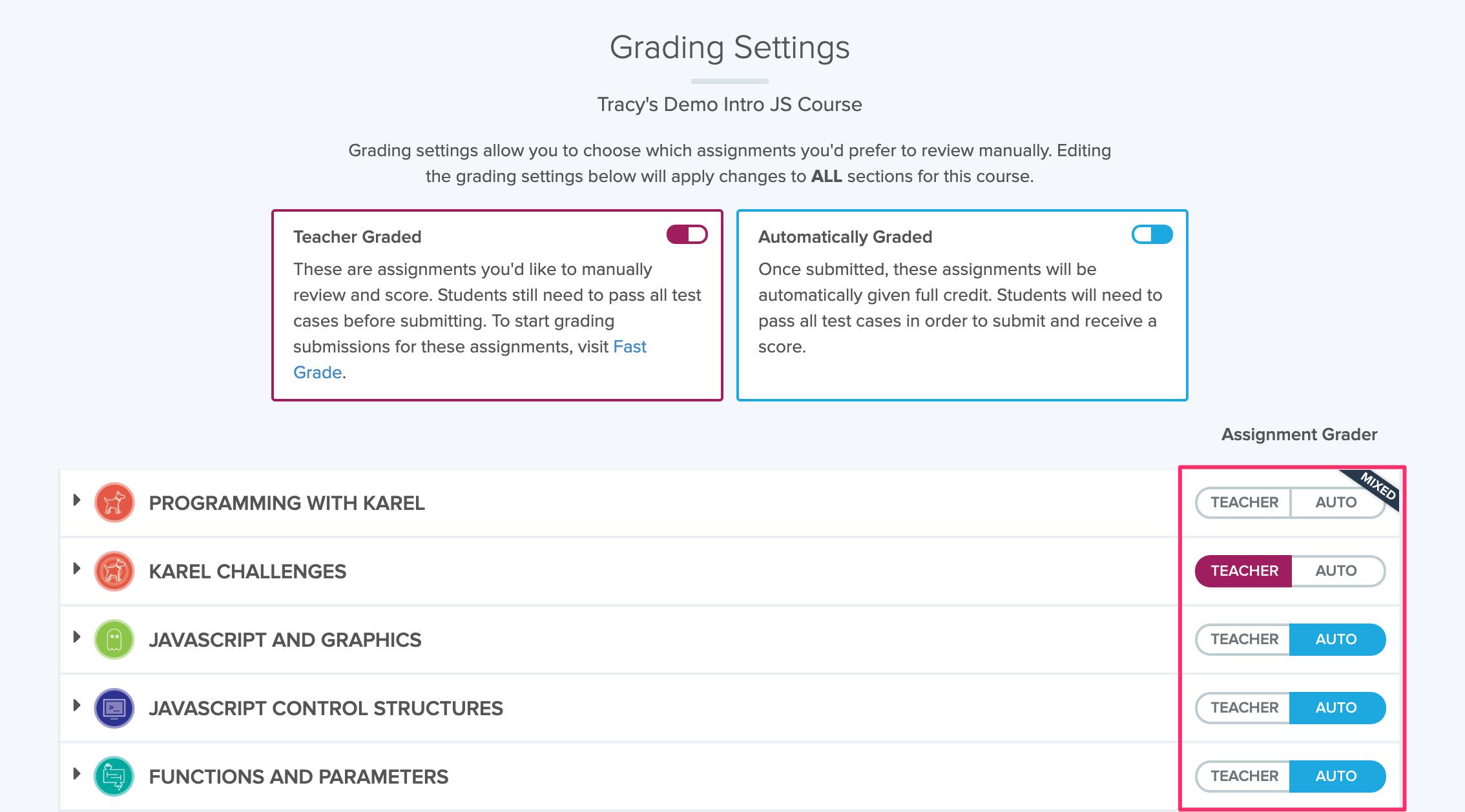 Image showing Grading Settings