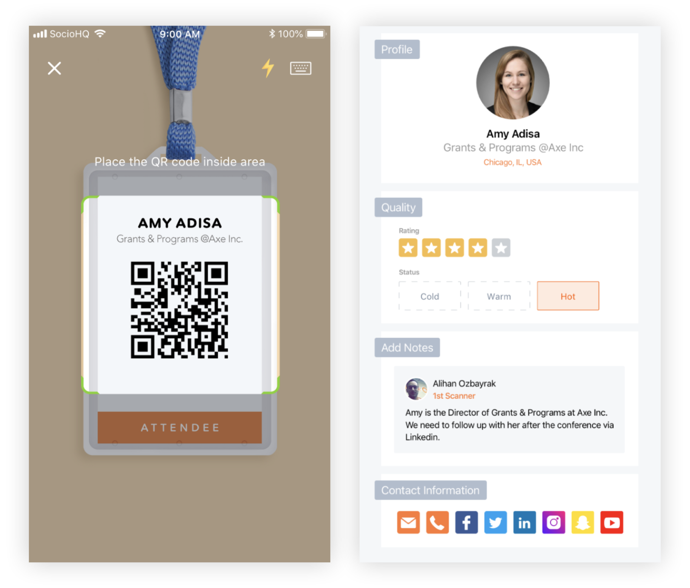 Screenshots of a phone scanning a QR code and a Lead profile in the Lead Retrieval app.