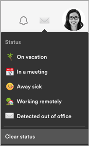 The email icon indicates an out of office message has been detected