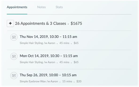 The Appointment History tab in the web app