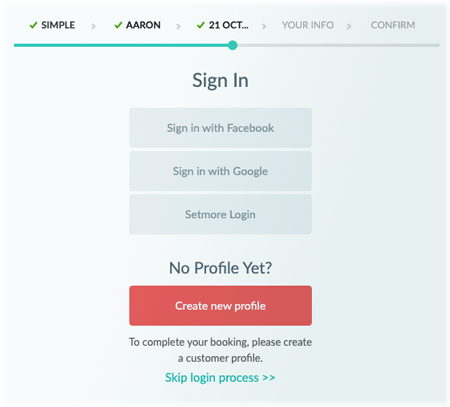 The Customer Login window on the Setmore Booking Page