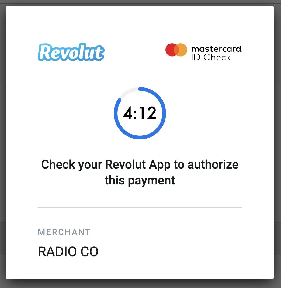 Card payment authorisation.