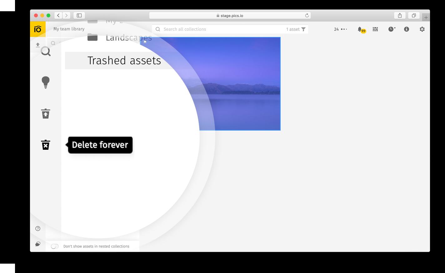 Deleting assets forever