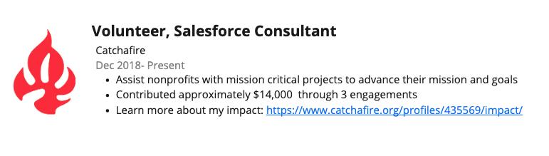 Example of Volunteer LinkedIn listing