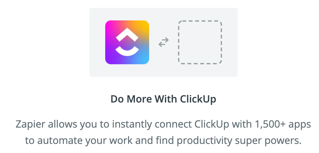 showing where you can choose other apps to create zaps to from clickup