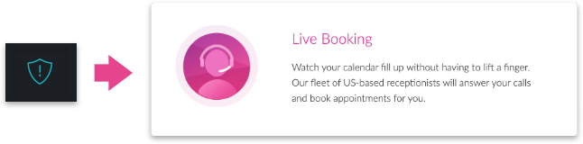 Activating Live Booking through the shield menu icon