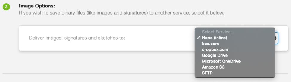 Select a service from the dropdown menu to deliver images, signatures and sketches to.