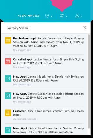The activity stream inside the Setmore web app