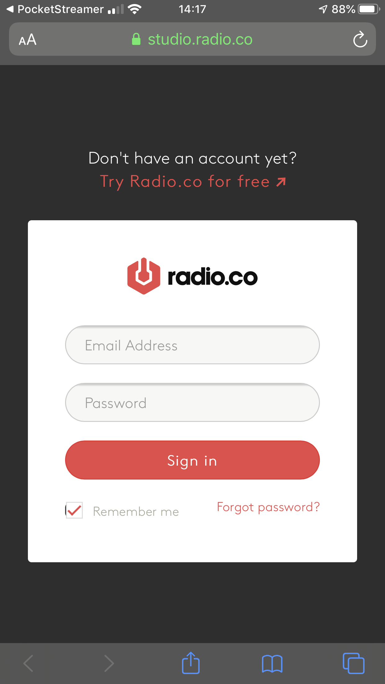 Connecting to Radio.co in PocketStreamer.