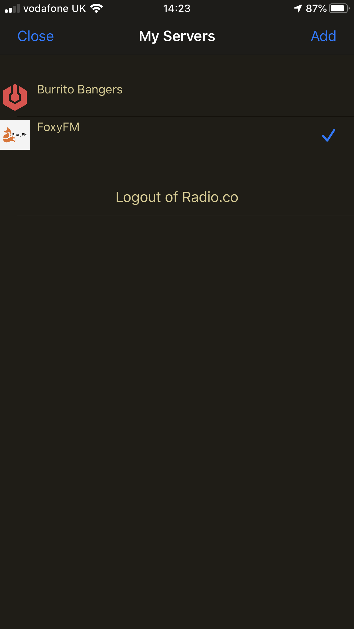 Adding a radio station in PocketStreamer.