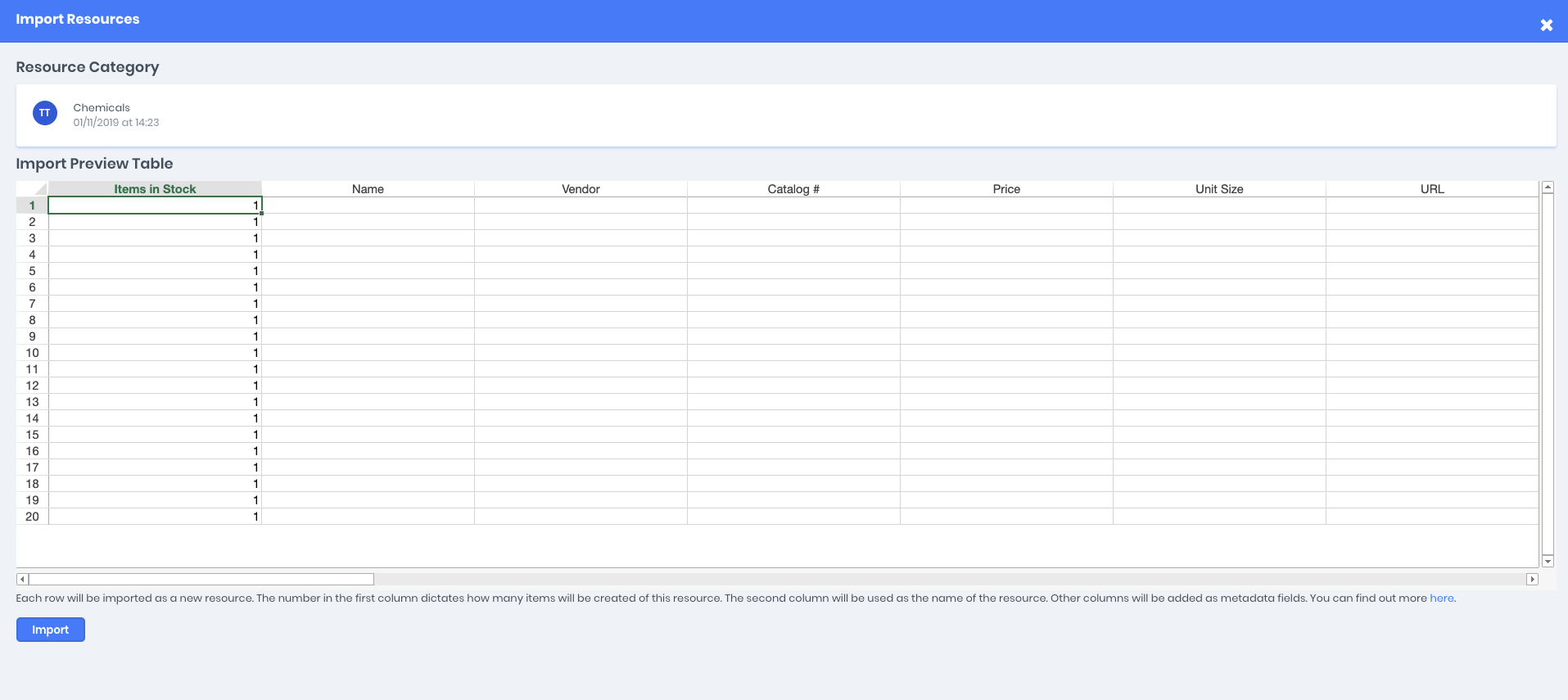 Resource category import preview data allowing for metadata values to be implemented and imported
