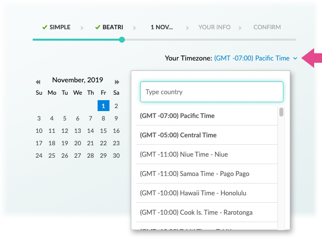 A Booking Page with the Customer's Local Time Zone