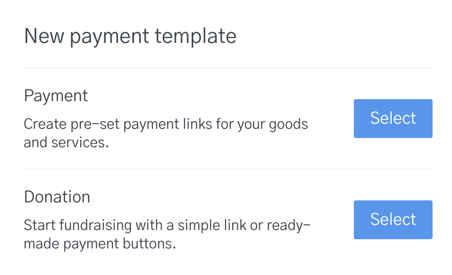 Image of options for a new payment template