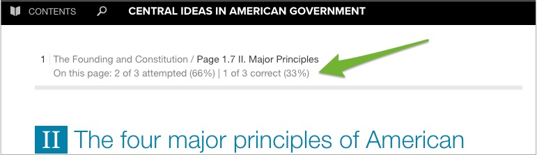 A webtext page with an arrow pointing to progress indicators of attempted and correct questions.