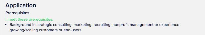 Example of volunteer meeting application prerequisites