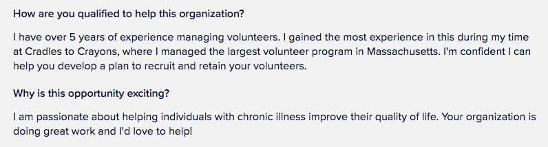 Example of Volunteer Answers to application questions