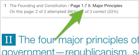 An arrow pointing to the page numbers above the progress indicators.