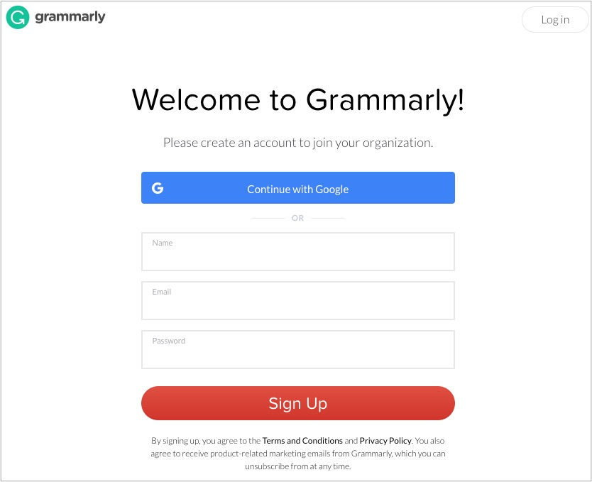 The Grammarly sign-up page.