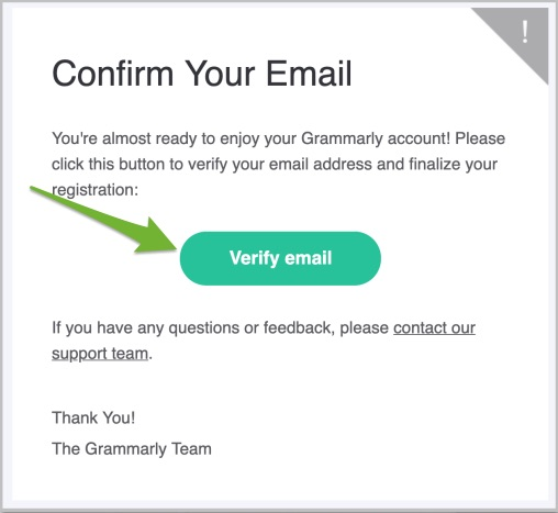 """Arrow pointing to """"Verify email"""" link in the verification email from Grammarly."""