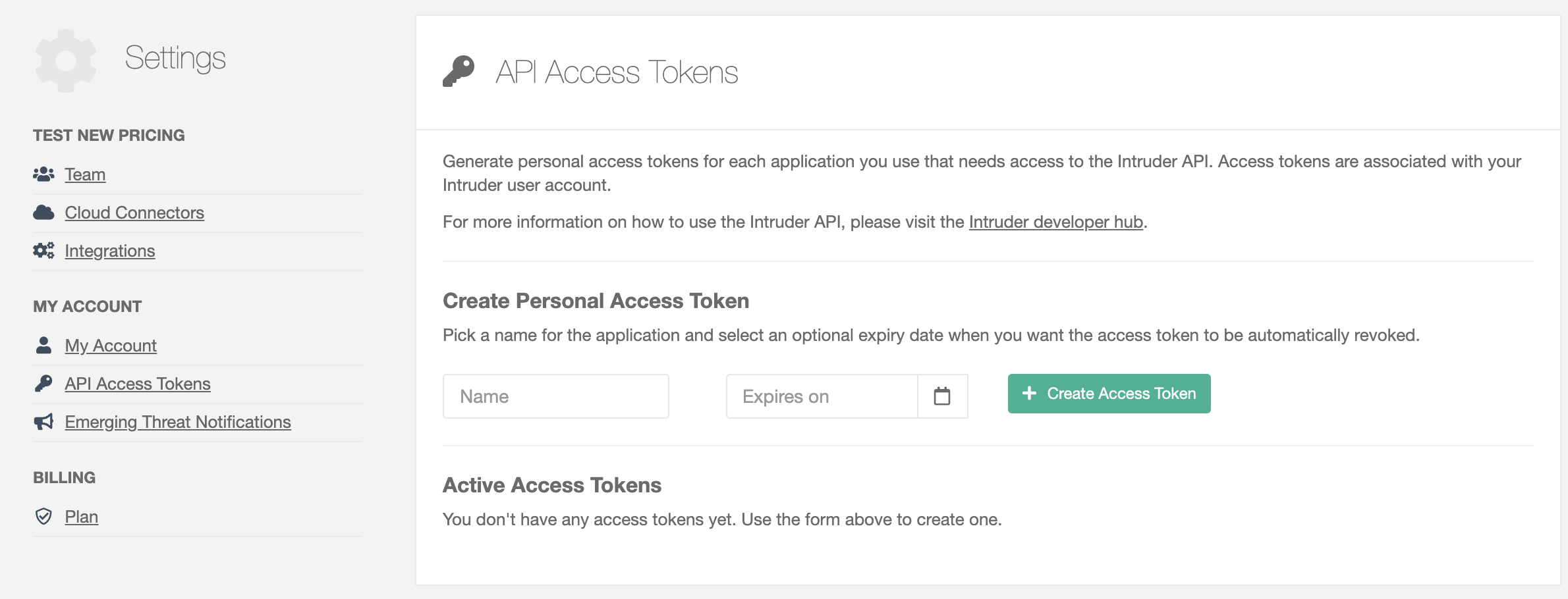 Access tokens settings