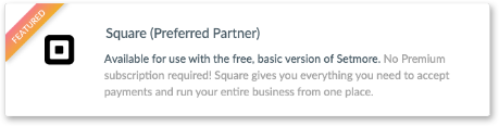 Choosing the Square card in the web app
