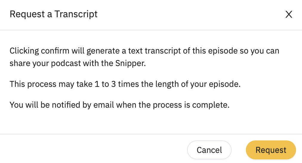 prompt given when creating a transcript with acast