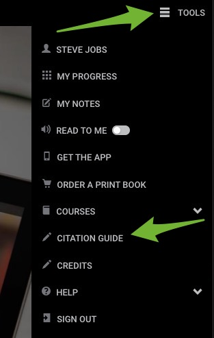 Arrows pointing to the expanded Tools menu and the Citation Guide option.