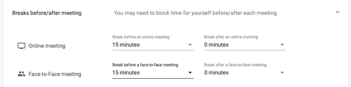 MeetFox - Break before/after meeting