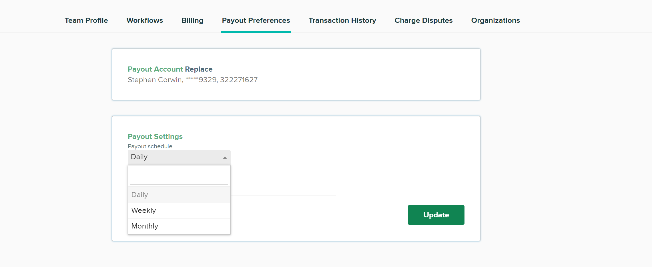 CityGrows Payout Preferences page