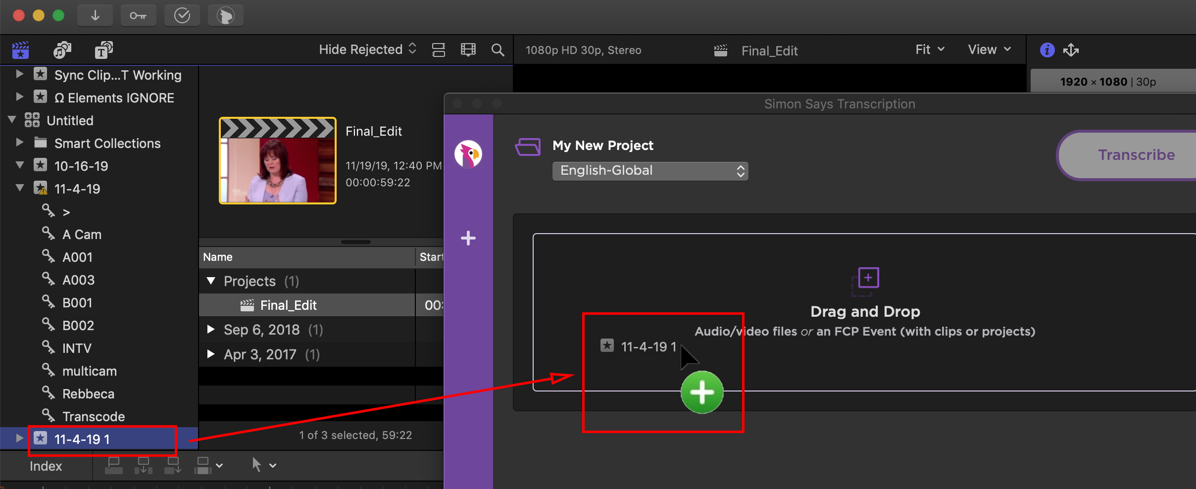 Have an FCP Event with an FCP Project and drag the Event to the Simon Says extension