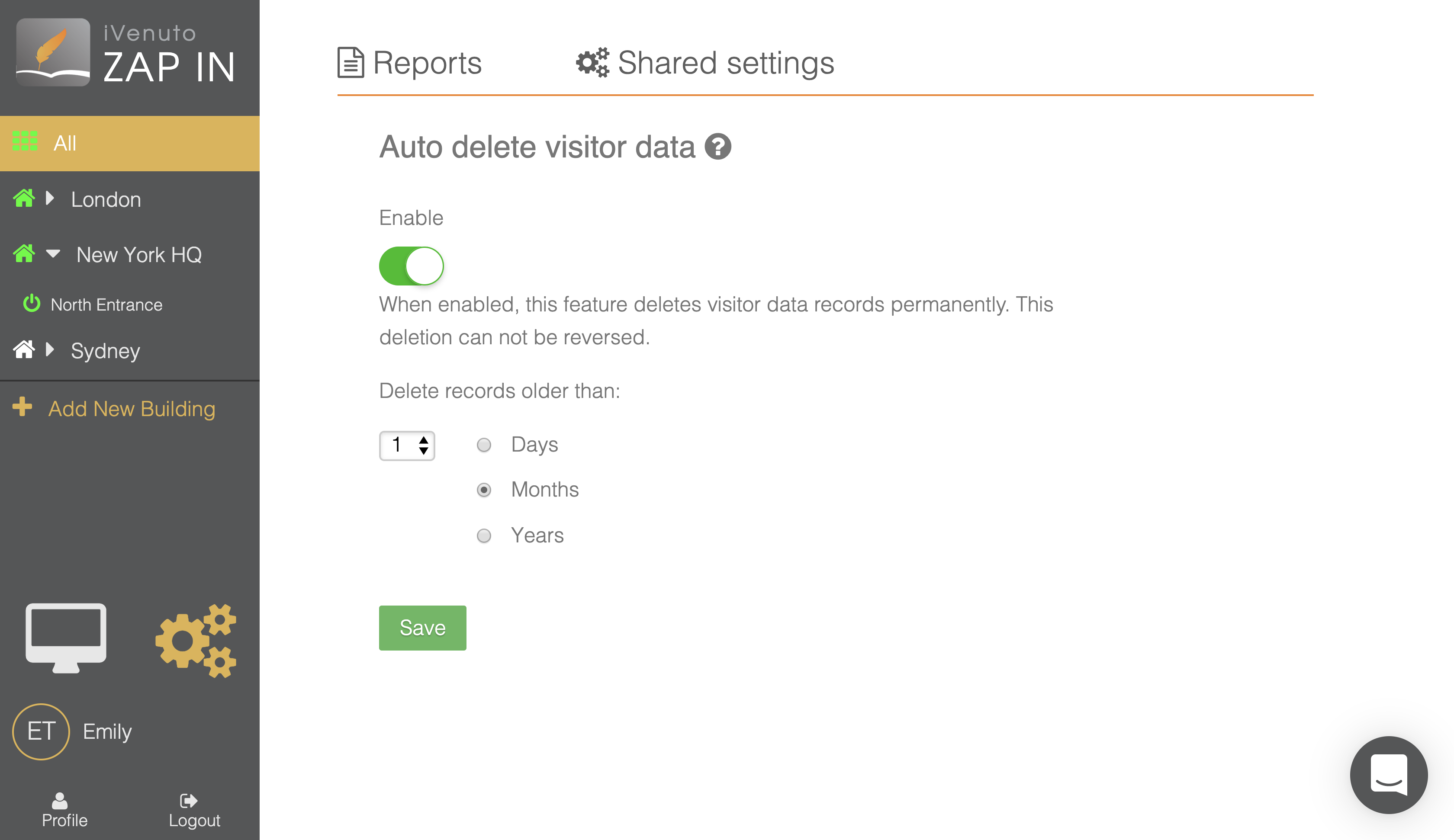 enterprise visitor management system auto delete