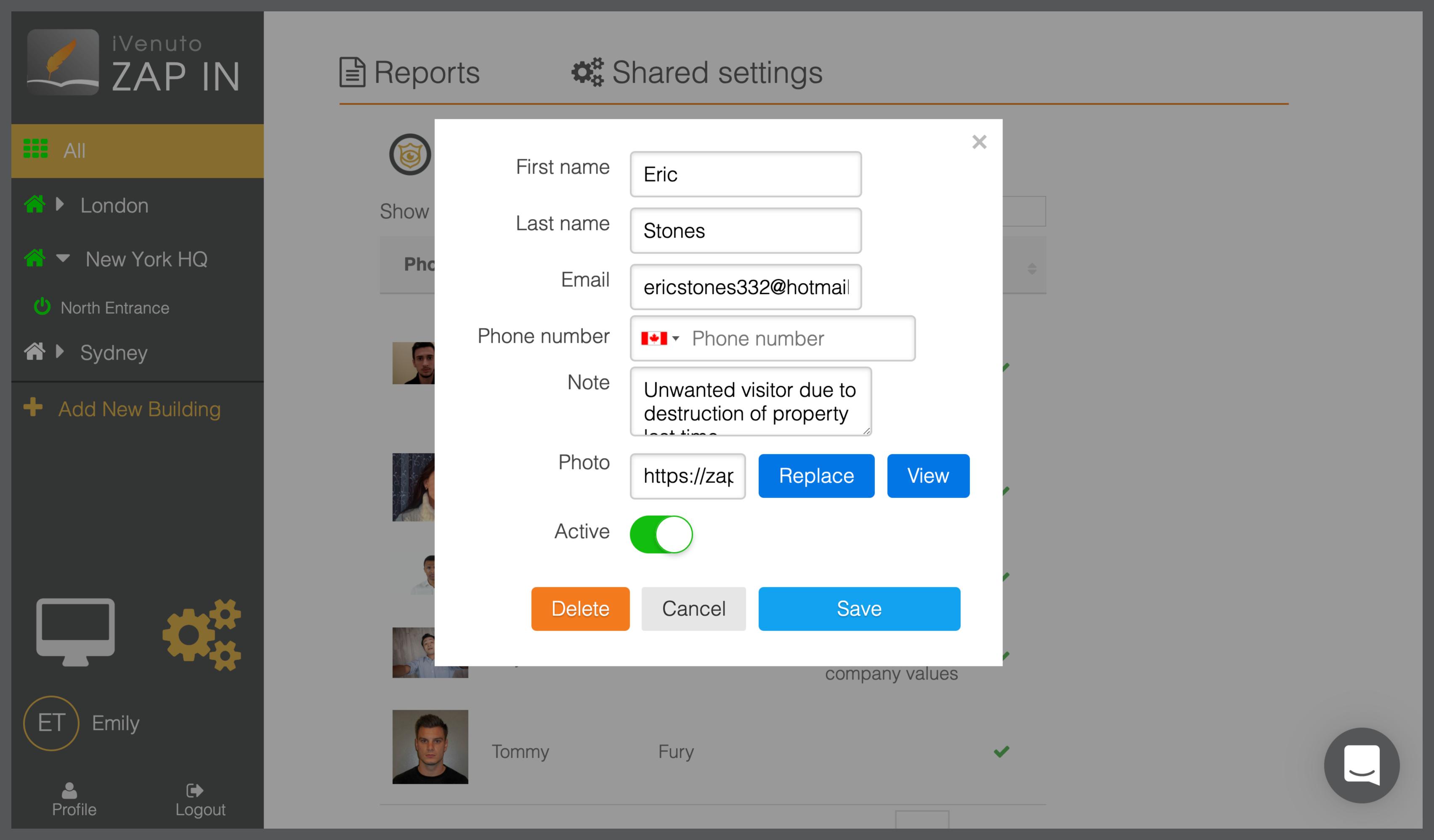ipad receptionist app watchlist