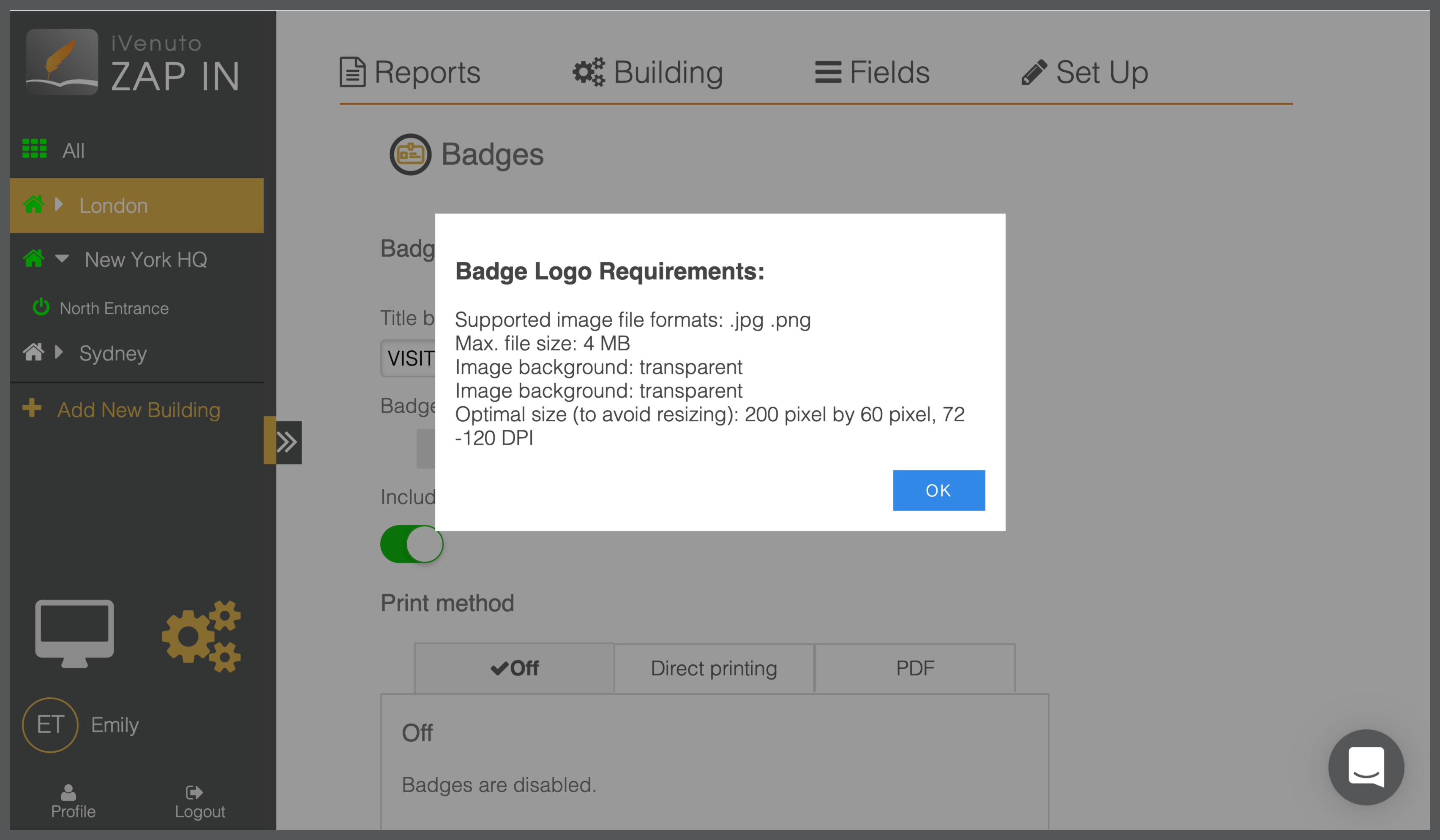 ipad visitor sign in badge printing