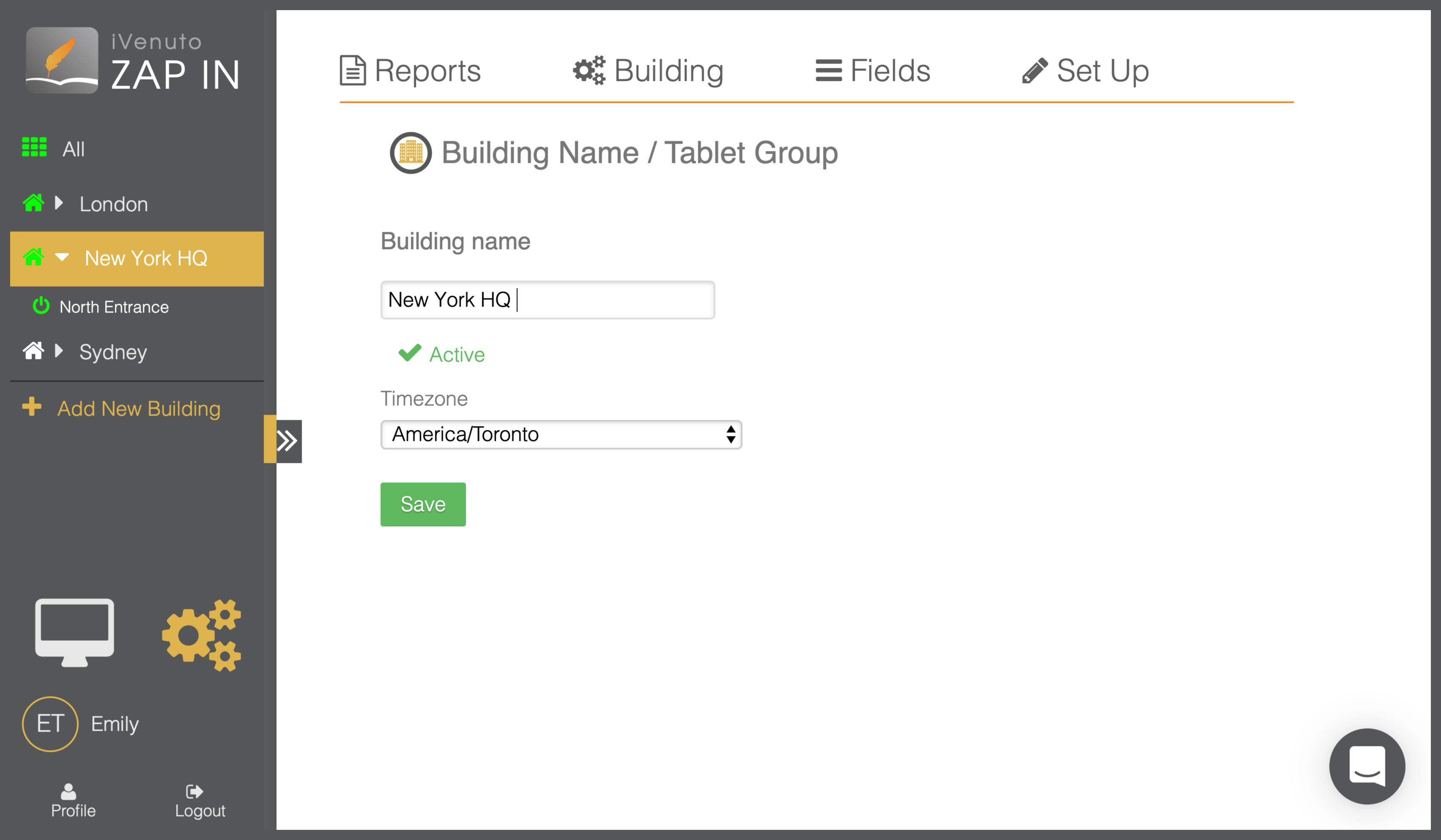 visitor management system for schools building selector