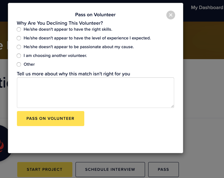 Reasons for Passing on a Volunteer