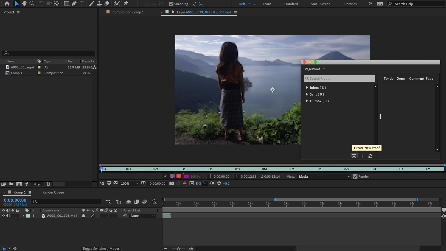 The PageProof panel in Adobe After Effects