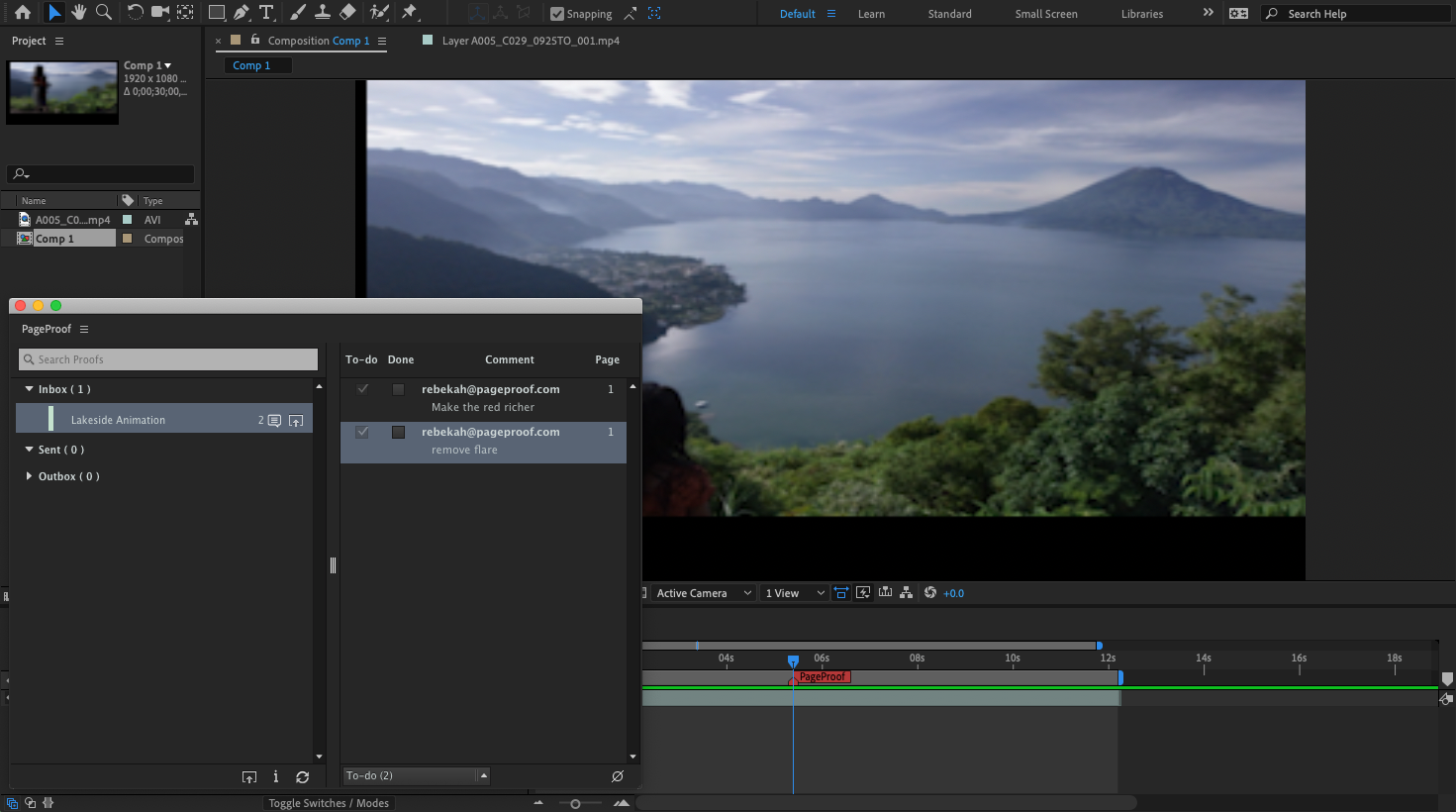 Select a comment to see the timecode position in After Effects