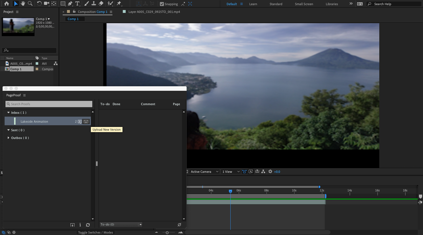 Create a new proof version in After Effects